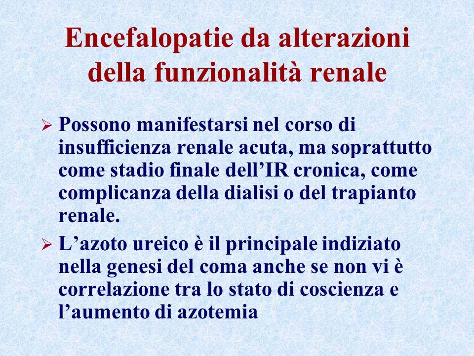 Encefalopatie da alterazioni della funzionalità renale Possono manifestarsi nel corso di insufficienza renale acuta, ma soprattutto come stadio finale dellIR cronica, come complicanza della dialisi o del trapianto renale.