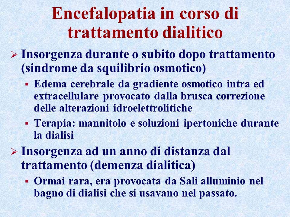Encefalopatia in corso di trattamento dialitico Insorgenza durante o subito dopo trattamento (sindrome da squilibrio osmotico) Edema cerebrale da grad
