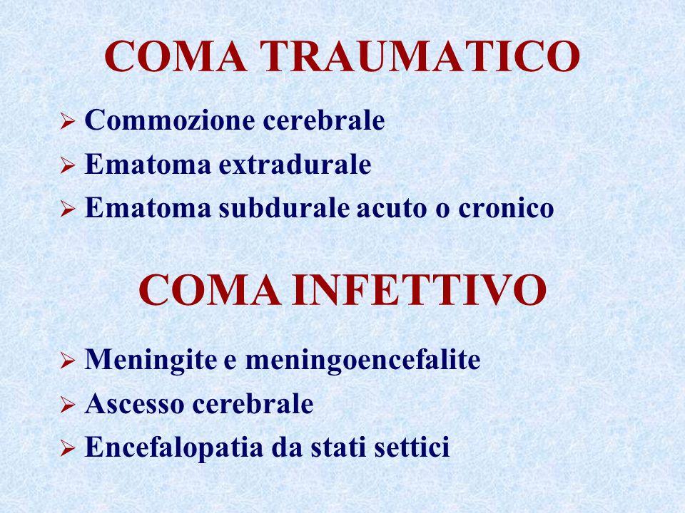 COMA TRAUMATICO Commozione cerebrale Ematoma extradurale Ematoma subdurale acuto o cronico COMA INFETTIVO Meningite e meningoencefalite Ascesso cerebrale Encefalopatia da stati settici