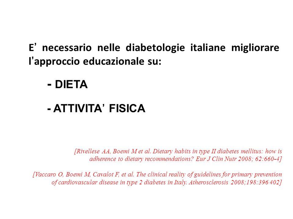 E necessario nelle diabetologie italiane migliorare lapproccio educazionale su: - DIETA - ATTIVITA FISICA [Rivellese AA, Boemi M et al. Dietary habits