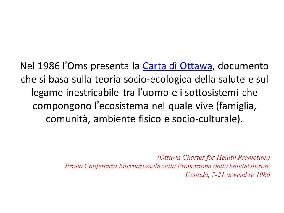 Nel 1986 lOms presenta la Carta di Ottawa, documento che si basa sulla teoria socio-ecologica della salute e sul legame inestricabile tra luomo e i so