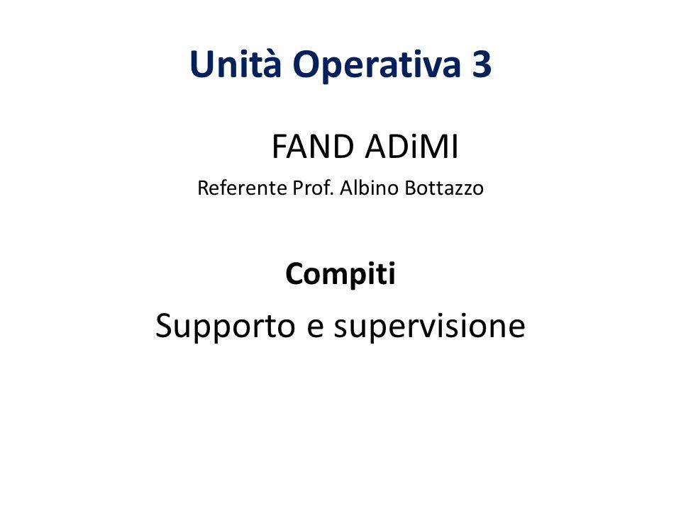 Unità Operativa 3 FAND ADiMI Referente Prof. Albino Bottazzo Compiti Supporto e supervisione