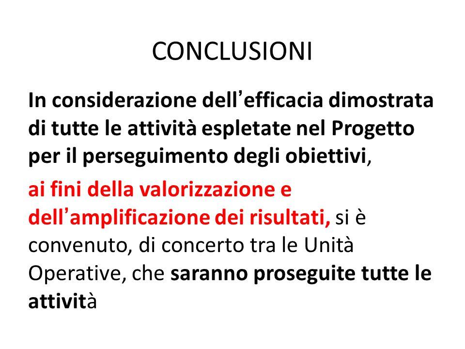 CONCLUSIONI In considerazione dellefficacia dimostrata di tutte le attività espletate nel Progetto per il perseguimento degli obiettivi, ai fini della