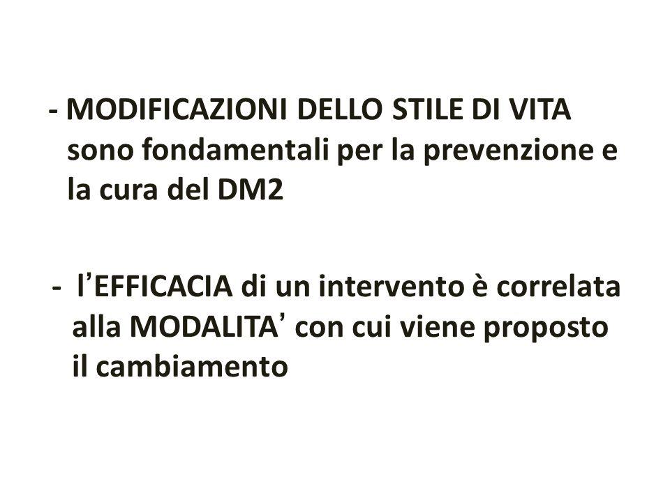 - MODIFICAZIONI DELLO STILE DI VITA sono fondamentali per la prevenzione e la cura del DM2 - lEFFICACIA di un intervento è correlata alla MODALITA con