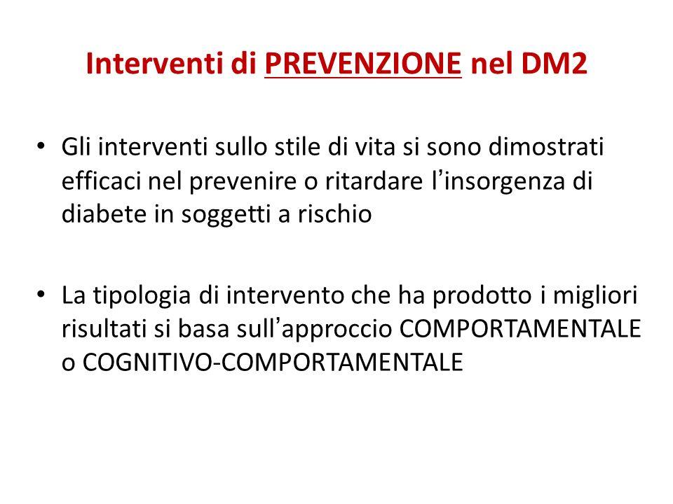 Interventi di PREVENZIONE nel DM2 Gli interventi sullo stile di vita si sono dimostrati efficaci nel prevenire o ritardare linsorgenza di diabete in s