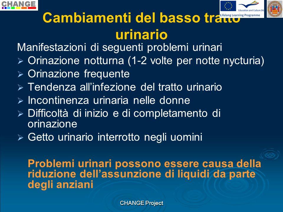 Cambiamenti del basso tratto urinario Manifestazioni di seguenti problemi urinari Orinazione notturna (1-2 volte per notte nycturia) Orinazione freque