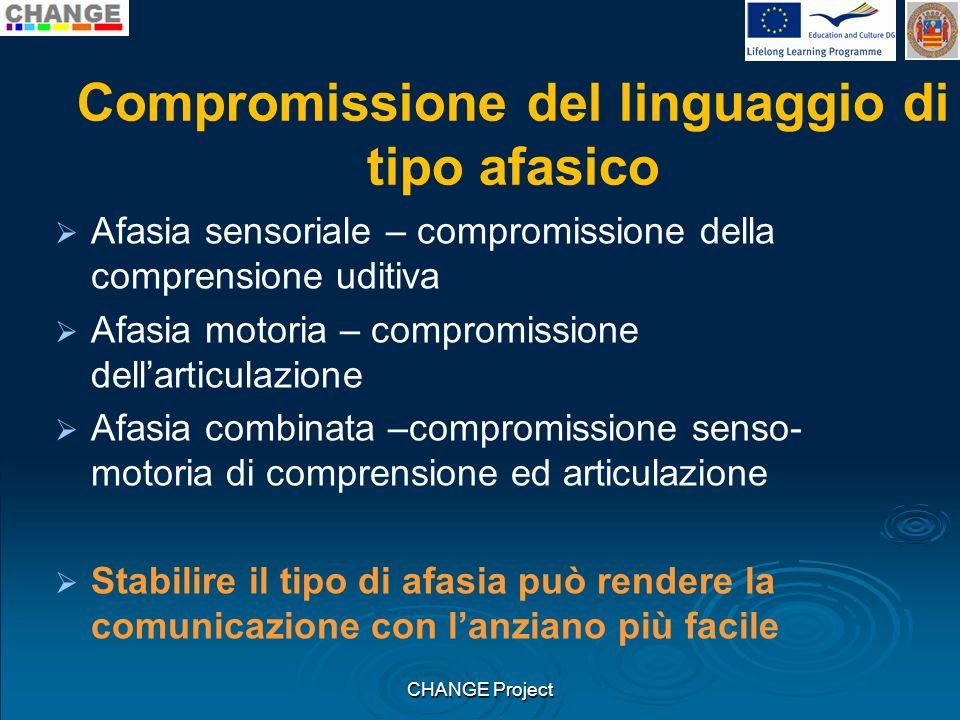 Compromissione del linguaggio di tipo afasico Afasia sensoriale – compromissione della comprensione uditiva Afasia motoria – compromissione dellarticu