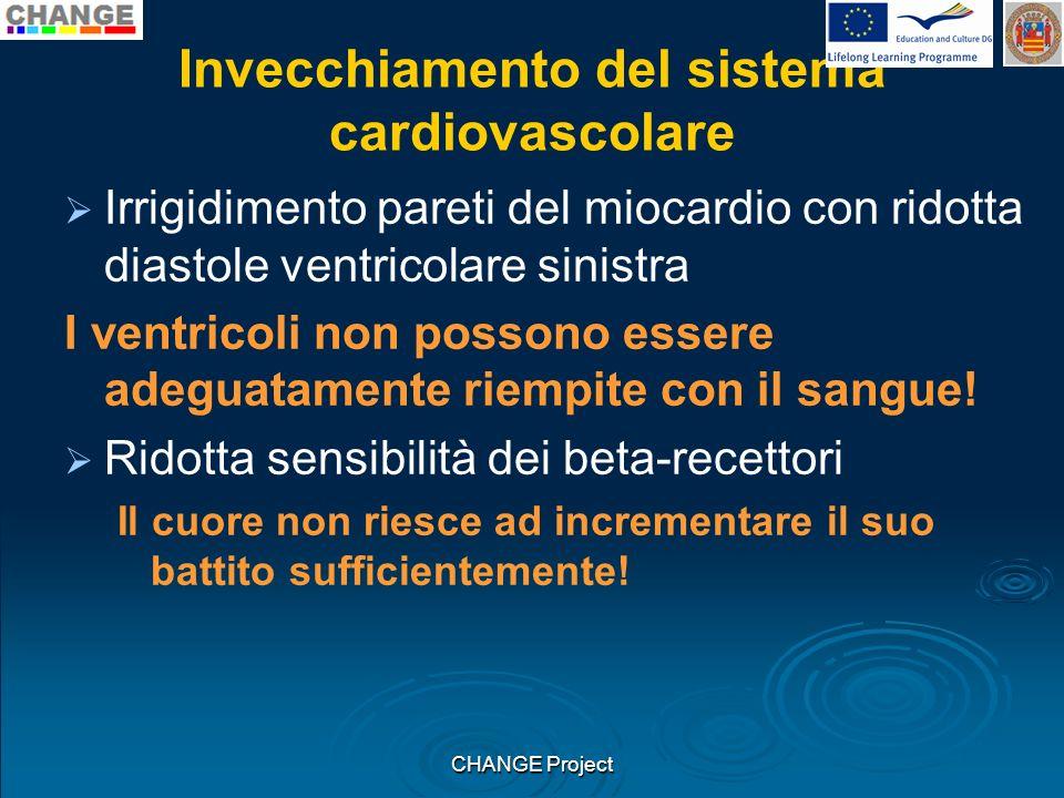 Invecchiamento del sistema cardiovascolare Irrigidimento pareti del miocardio con ridotta diastole ventricolare sinistra I ventricoli non possono esse