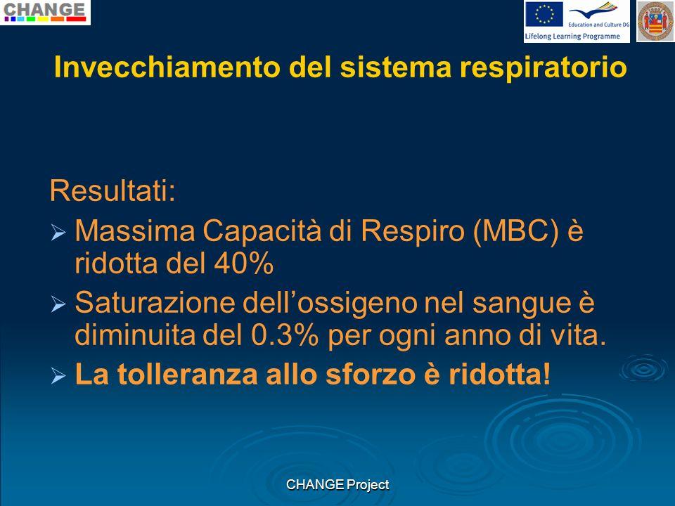Invecchiamento del sistema respiratorio Resultati: Massima Capacità di Respiro (MBC) è ridotta del 40% Saturazione dellossigeno nel sangue è diminuita