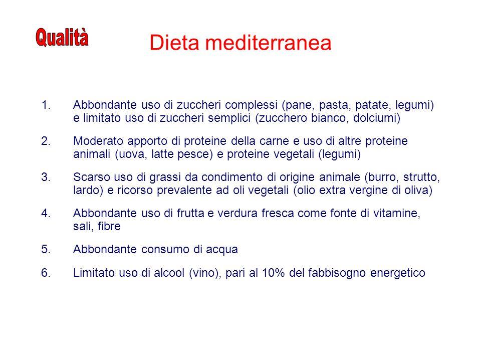 Dieta mediterranea 1.Abbondante uso di zuccheri complessi (pane, pasta, patate, legumi) e limitato uso di zuccheri semplici (zucchero bianco, dolciumi) 2.Moderato apporto di proteine della carne e uso di altre proteine animali (uova, latte pesce) e proteine vegetali (legumi) 3.Scarso uso di grassi da condimento di origine animale (burro, strutto, lardo) e ricorso prevalente ad oli vegetali (olio extra vergine di oliva) 4.Abbondante uso di frutta e verdura fresca come fonte di vitamine, sali, fibre 5.Abbondante consumo di acqua 6.Limitato uso di alcool (vino), pari al 10% del fabbisogno energetico
