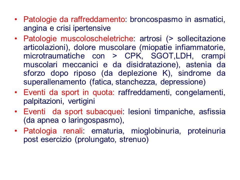 Patologie da raffreddamento: broncospasmo in asmatici, angina e crisi ipertensive Patologie muscoloscheletriche: artrosi (> sollecitazione articolazioni), dolore muscolare (miopatie infiammatorie, microtraumatiche con > CPK, SGOT,LDH, crampi muscolari meccanici e da disidratazione), astenia da sforzo dopo riposo (da deplezione K), sindrome da superallenamento (fatica, stanchezza, depressione) Eventi da sport in quota: raffreddamenti, congelamenti, palpitazioni, vertigini Eventi da sport subacquei: lesioni timpaniche, asfissia (da apnea o laringospasmo), Patologia renali: ematuria, mioglobinuria, proteinuria post esercizio (prolungato, strenuo)