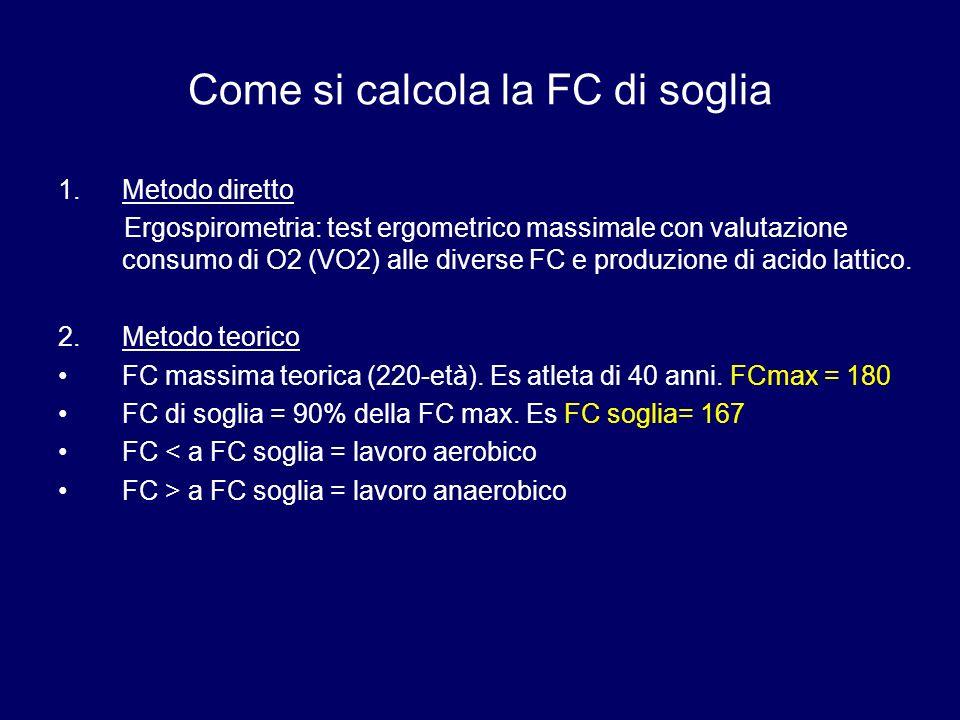 Come si calcola la FC di soglia 1.Metodo diretto Ergospirometria: test ergometrico massimale con valutazione consumo di O2 (VO2) alle diverse FC e produzione di acido lattico.