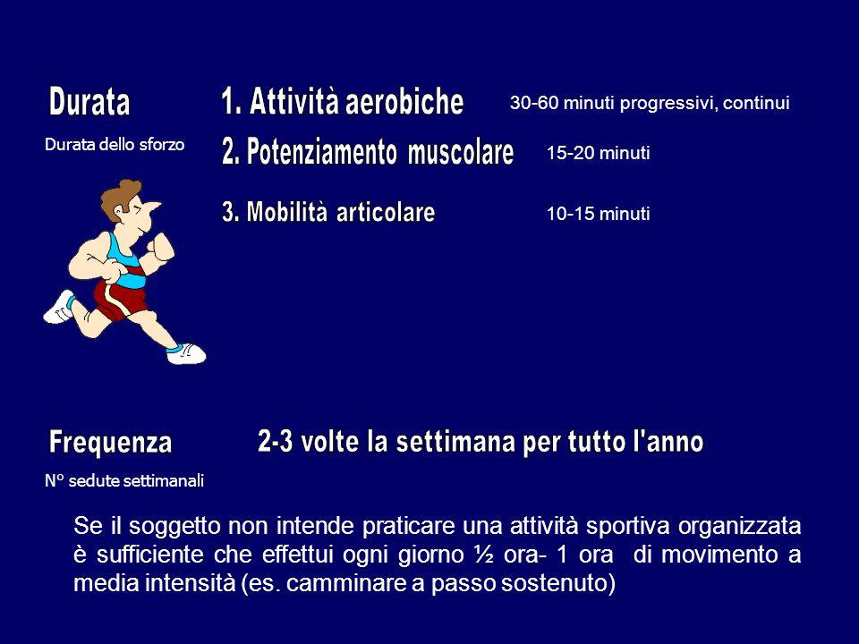 Se il soggetto non intende praticare una attività sportiva organizzata è sufficiente che effettui ogni giorno ½ ora- 1 ora di movimento a media intensità (es.