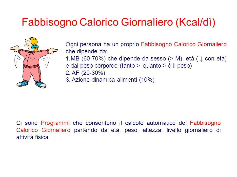 Fabbisogno Calorico Giornaliero (Kcal/dì) Ogni persona ha un proprio Fabbisogno Calorico Giornaliero che dipende da: 1.MB (60-70%) che dipende da sesso (> M), età ( con età) e dal peso corporeo (tanto > quanto > è il peso) 2.