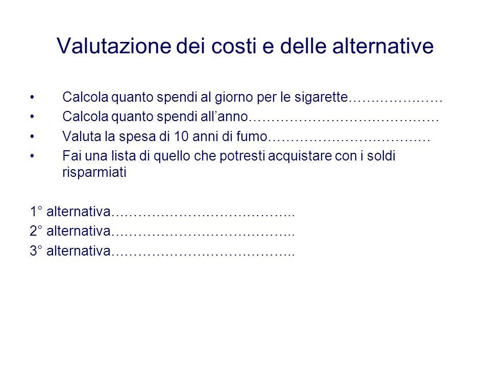 Valutazione dei costi e delle alternative Calcola quanto spendi al giorno per le sigarette………………… Calcola quanto spendi allanno…………………………………… Valuta la spesa di 10 anni di fumo……………………………… Fai una lista di quello che potresti acquistare con i soldi risparmiati 1° alternativa…………………………………..