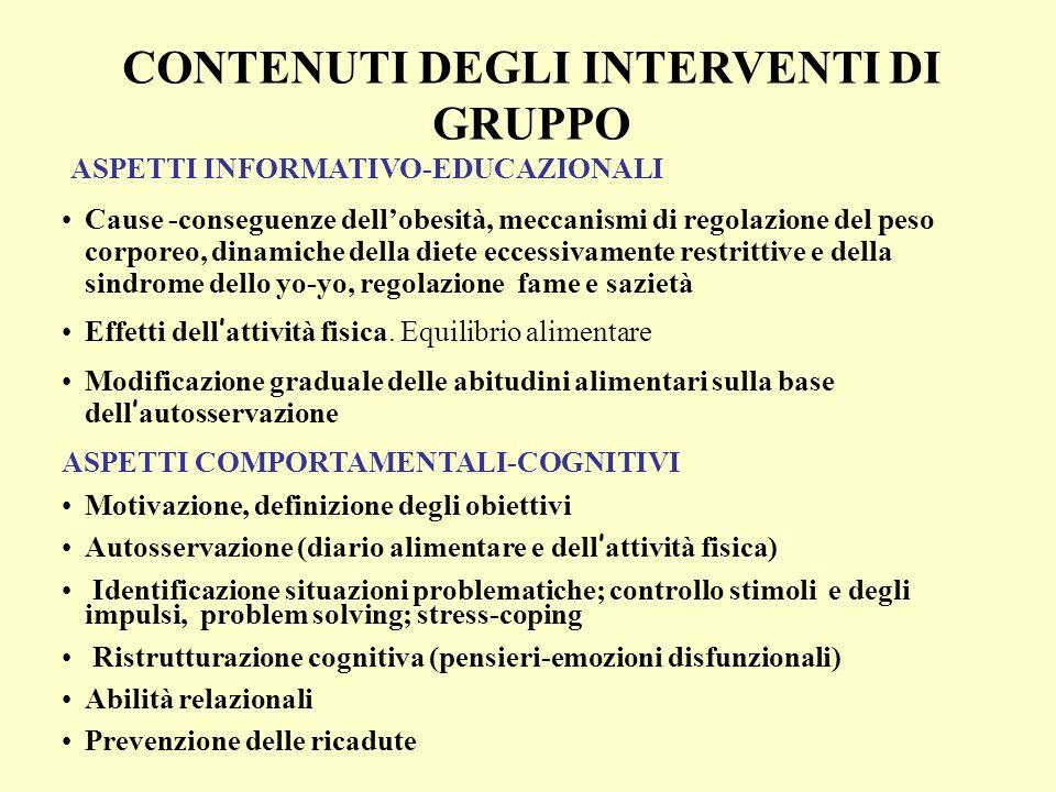 ASPETTI INFORMATIVO-EDUCAZIONALI Cause -conseguenze dellobesità, meccanismi di regolazione del peso corporeo, dinamiche della diete eccessivamente res