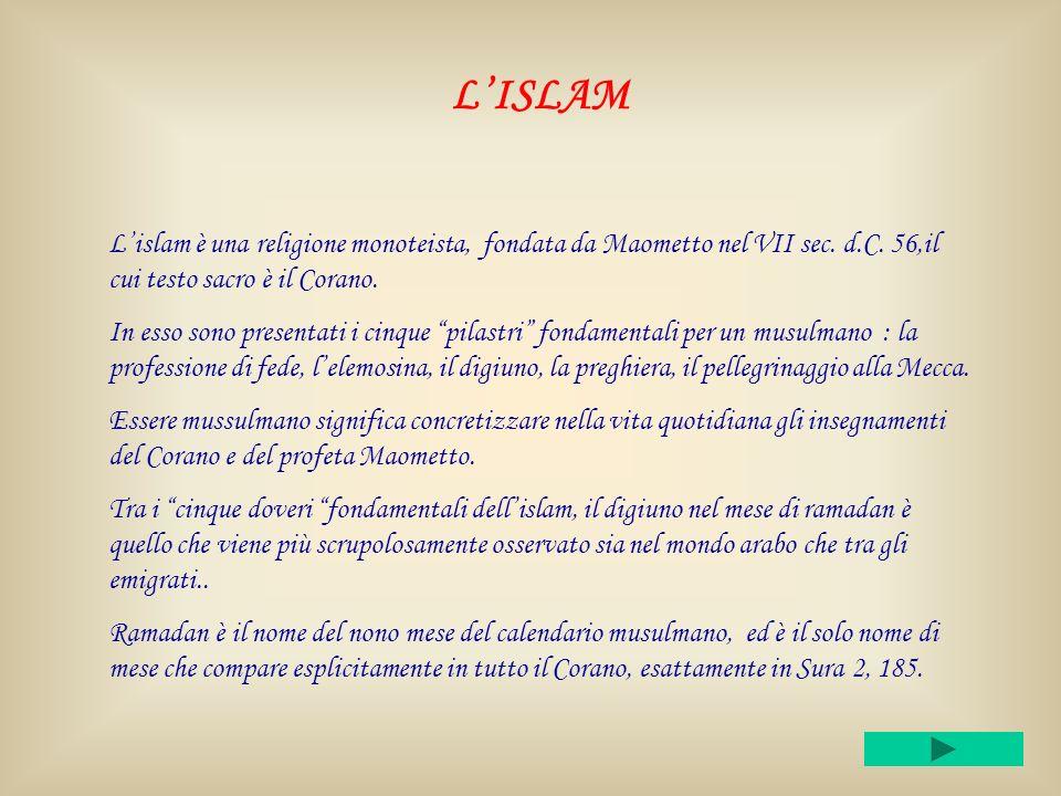 LISLAM Lislam è una religione monoteista, fondata da Maometto nel VII sec.