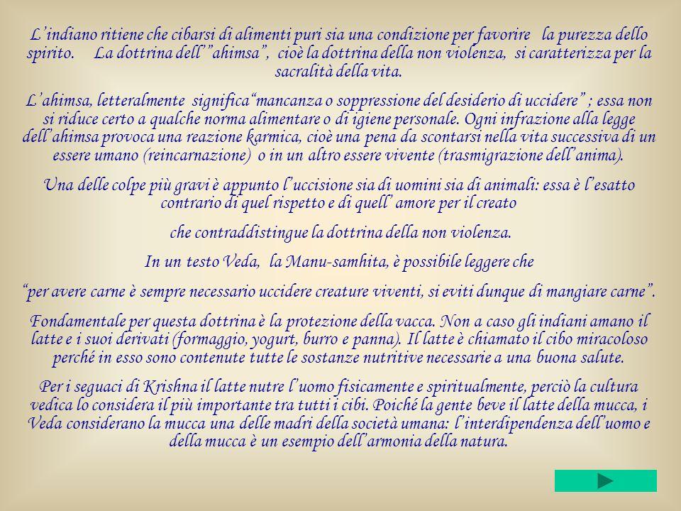 Lindiano ritiene che cibarsi di alimenti puri sia una condizione per favorire la purezza dello spirito.