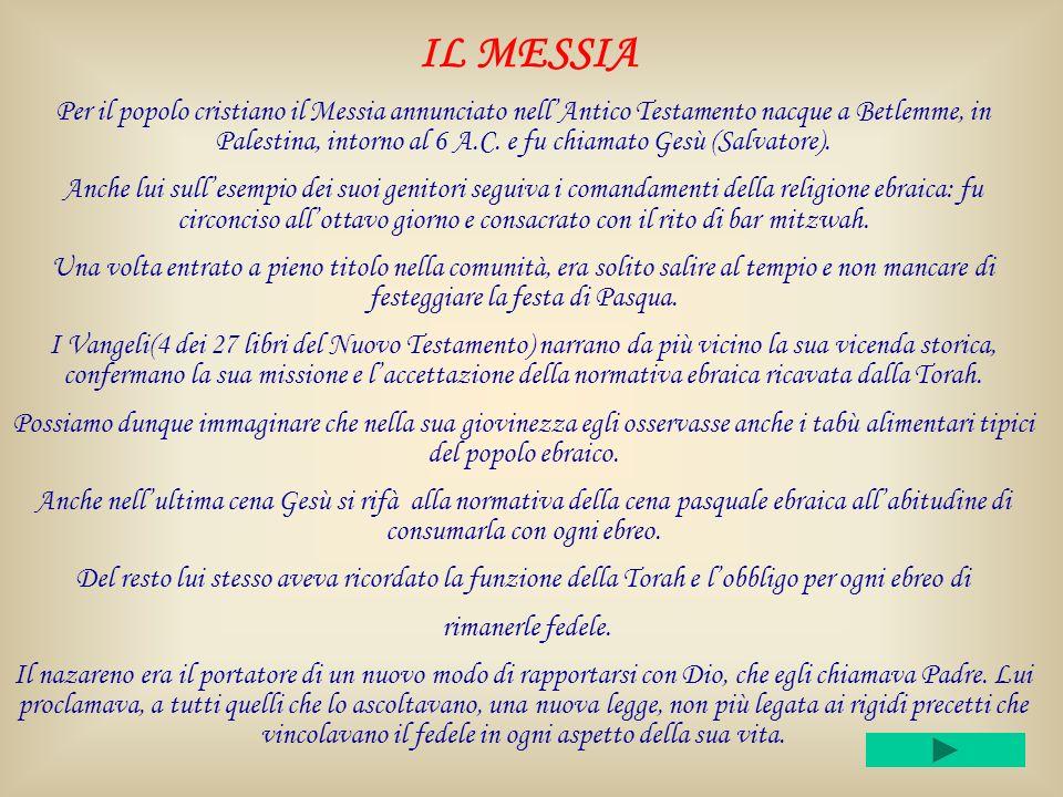 IL MESSIA Per il popolo cristiano il Messia annunciato nellAntico Testamento nacque a Betlemme, in Palestina, intorno al 6 A.C.