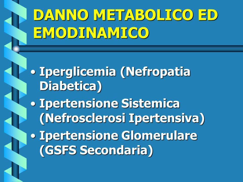 DANNO METABOLICO ED EMODINAMICO Iperglicemia (Nefropatia Diabetica)Iperglicemia (Nefropatia Diabetica) Ipertensione Sistemica (Nefrosclerosi Ipertensi