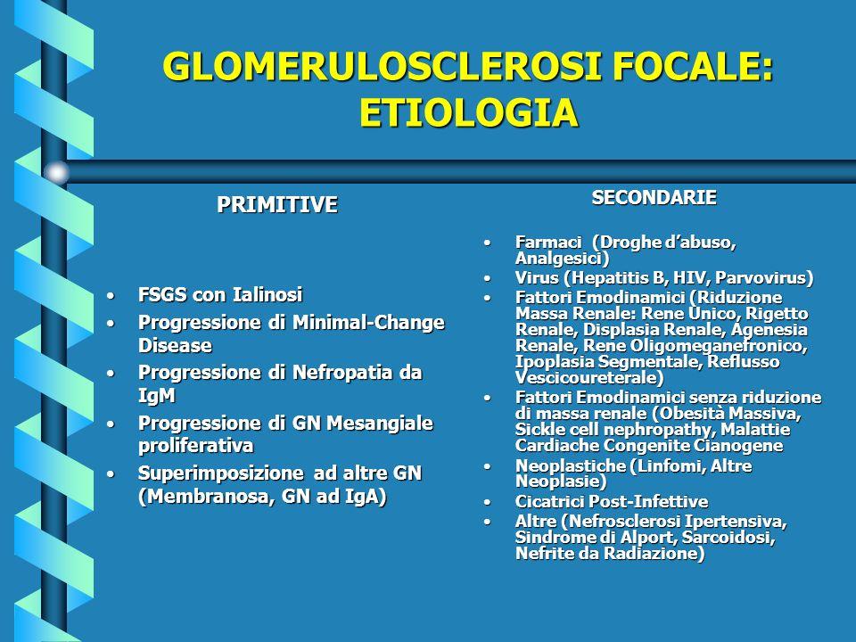 GLOMERULOSCLEROSI FOCALE: ETIOLOGIA PRIMITIVE FSGS con IalinosiFSGS con Ialinosi Progressione di Minimal-Change DiseaseProgressione di Minimal-Change
