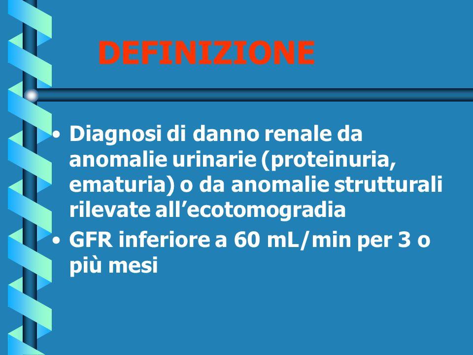 DEFINIZIONE Diagnosi di danno renale da anomalie urinarie (proteinuria, ematuria) o da anomalie strutturali rilevate allecotomogradia GFR inferiore a