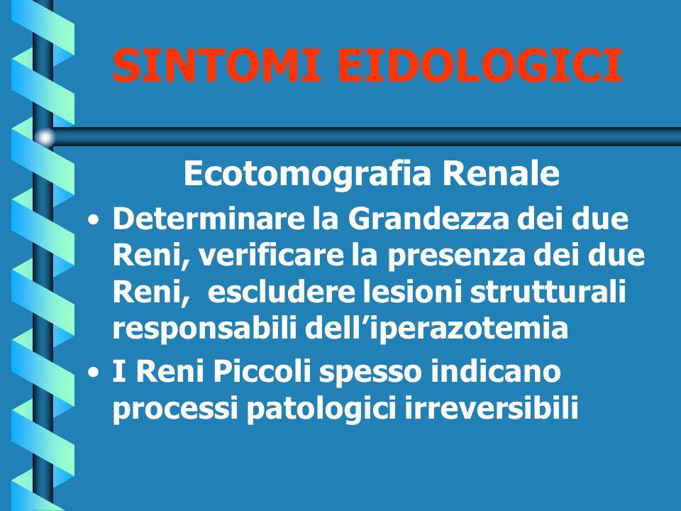 SINTOMI EIDOLOGICI Ecotomografia Renale Determinare la Grandezza dei due Reni, verificare la presenza dei due Reni, escludere lesioni strutturali resp