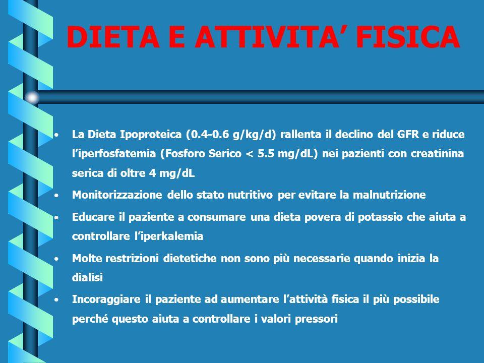 DIETA E ATTIVITA FISICA La Dieta Ipoproteica (0.4-0.6 g/kg/d) rallenta il declino del GFR e riduce liperfosfatemia (Fosforo Serico < 5.5 mg/dL) nei pa