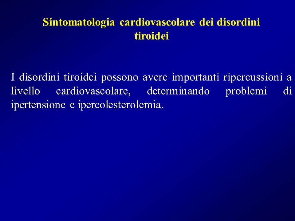 Sintomatologia cardiovascolare dei disordini tiroidei I disordini tiroidei possono avere importanti ripercussioni a livello cardiovascolare, determina