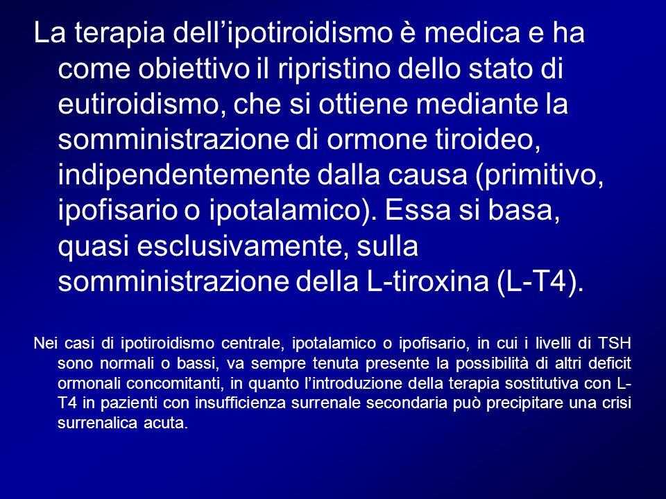 La terapia dellipotiroidismo è medica e ha come obiettivo il ripristino dello stato di eutiroidismo, che si ottiene mediante la somministrazione di or
