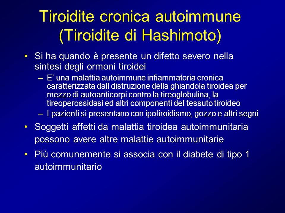 Tiroidite cronica autoimmune (Tiroidite di Hashimoto) Si ha quando è presente un difetto severo nella sintesi degli ormoni tiroidei –E una malattia au