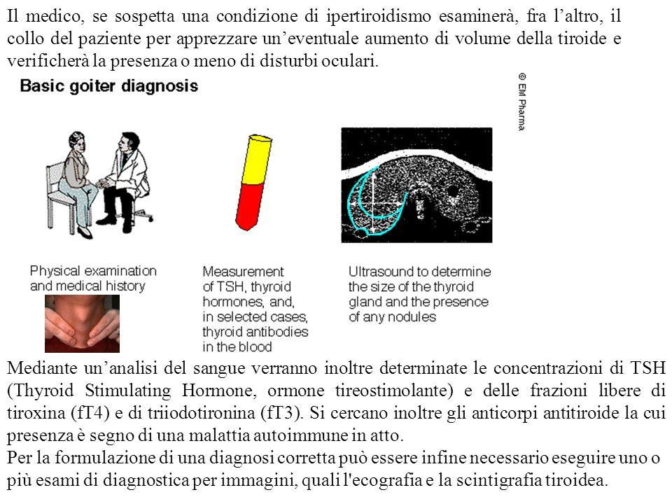 Il medico, se sospetta una condizione di ipertiroidismo esaminerà, fra laltro, il collo del paziente per apprezzare uneventuale aumento di volume dell