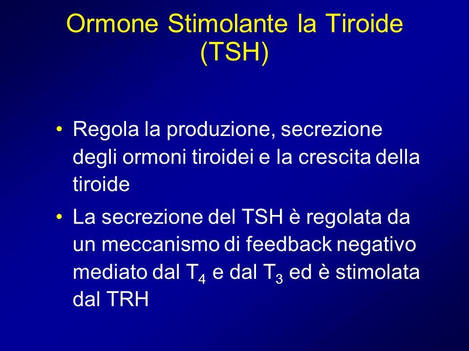 Ormone Stimolante la Tiroide (TSH) Regola la produzione, secrezione degli ormoni tiroidei e la crescita della tiroide La secrezione del TSH è regolata