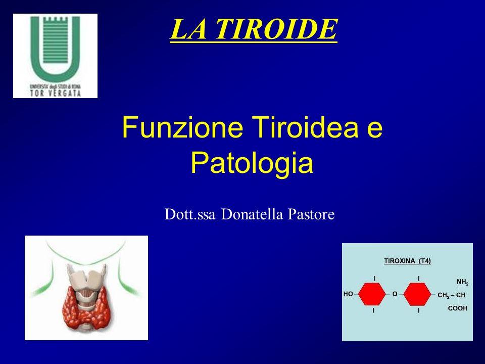 Funzione Tiroidea e Patologia LA TIROIDE Dott.ssa Donatella Pastore