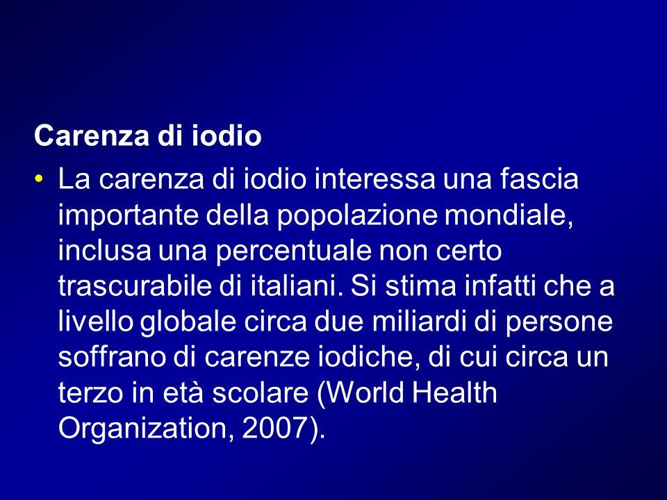 Carenza di iodio La carenza di iodio interessa una fascia importante della popolazione mondiale, inclusa una percentuale non certo trascurabile di ita