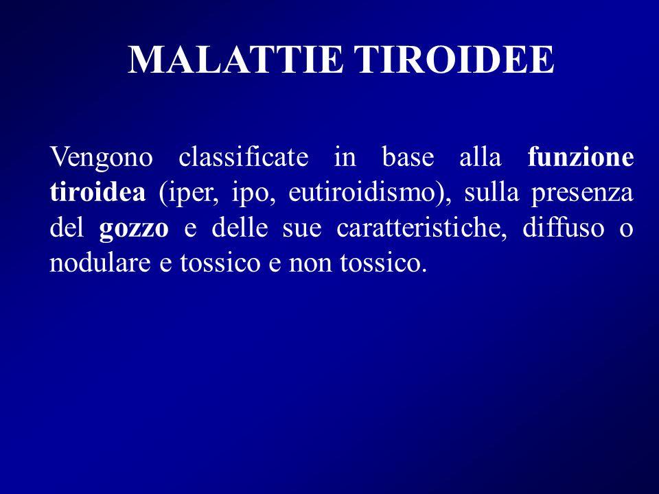 MALATTIE TIROIDEE Vengono classificate in base alla funzione tiroidea (iper, ipo, eutiroidismo), sulla presenza del gozzo e delle sue caratteristiche,