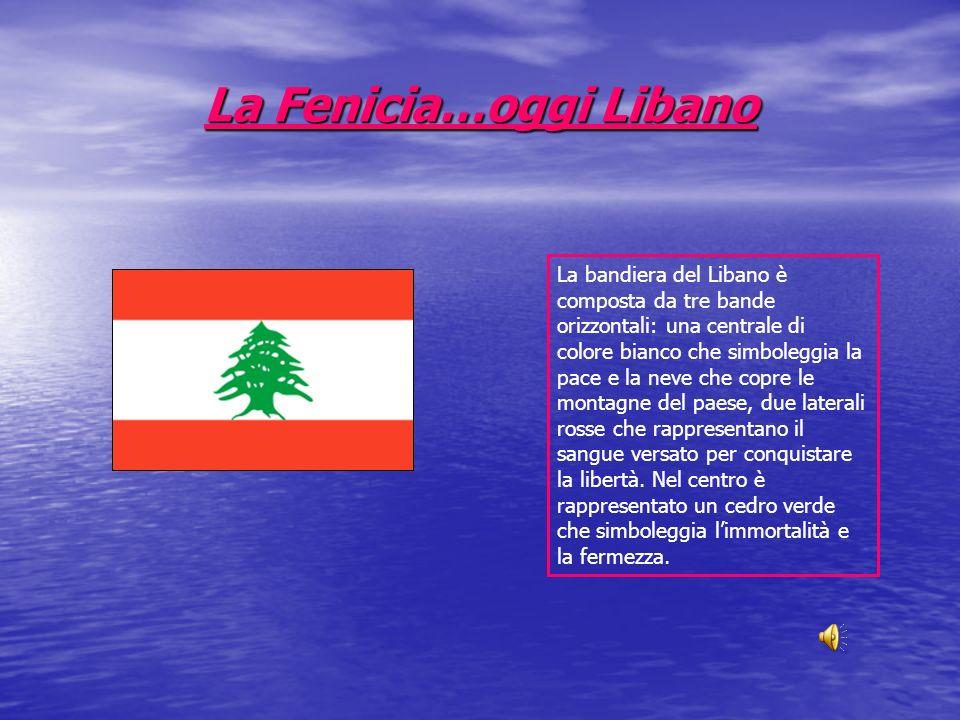 La Fenicia…oggi Libano La bandiera del Libano è composta da tre bande orizzontali: una centrale di colore bianco che simboleggia la pace e la neve che