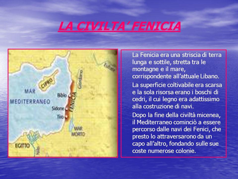 LA CIVILTA FENICIA La Fenicia era una striscia di terra lunga e sottile, stretta tra le montagne e il mare, corrispondente allattuale Libano. La super