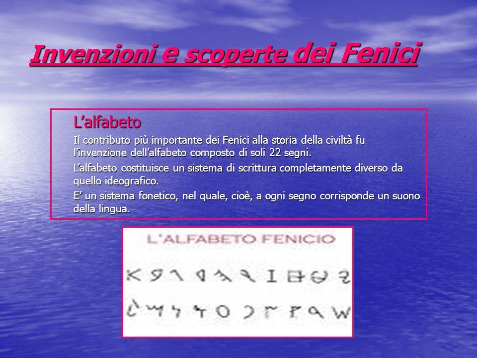 Invenzioni e scoperte dei Fenici Lalfabeto Il contributo più importante dei Fenici alla storia della civiltà fu linvenzione dellalfabeto composto di s
