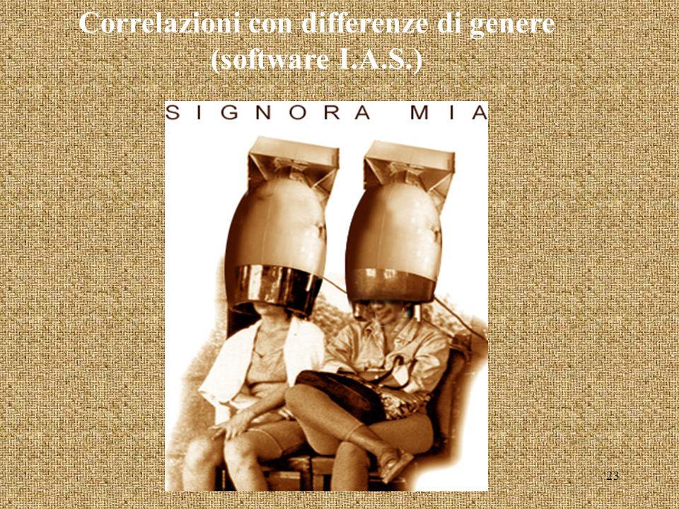 Correlazioni con differenze di genere (software I.A.S.) 23