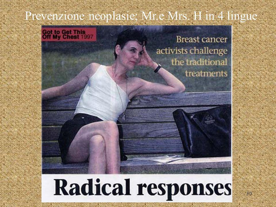 Prevenzione neoplasie; Mr.e Mrs. H in 4 lingue 30