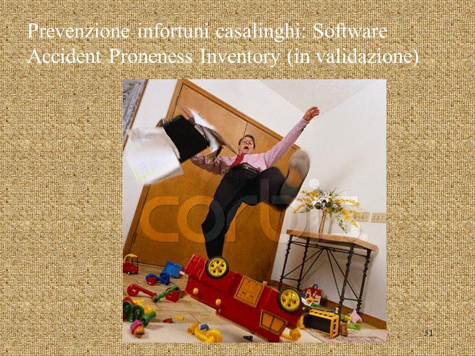 Prevenzione infortuni casalinghi: Software Accident Proneness Inventory (in validazione) 31