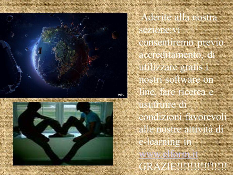 Aderite alla nostra sezione:vi consentiremo previo accreditamento, di utilizzare gratis i nostri software on line, fare ricerca e usufruire di condizioni favorevoli alle nostre attività di e-learning in www.elform.it GRAZIE!!!!!!!!!!!!!!.