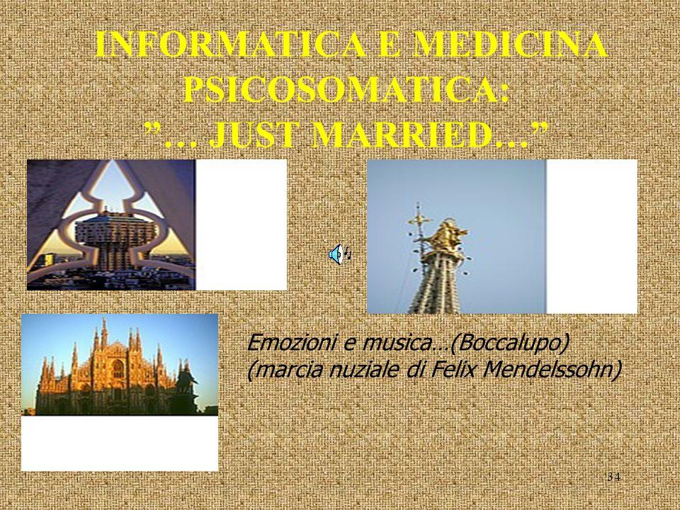 INFORMATICA E MEDICINA PSICOSOMATICA: … JUST MARRIED… Emozioni e musica…(Boccalupo) (marcia nuziale di Felix Mendelssohn) 34