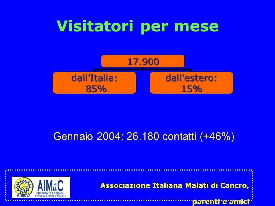 Visitatori per mese17.900 dallItalia: 85% 85%dallestero:15% Associazione Italiana Malati di Cancro, parenti e amici Gennaio 2004: 26.180 contatti (+46