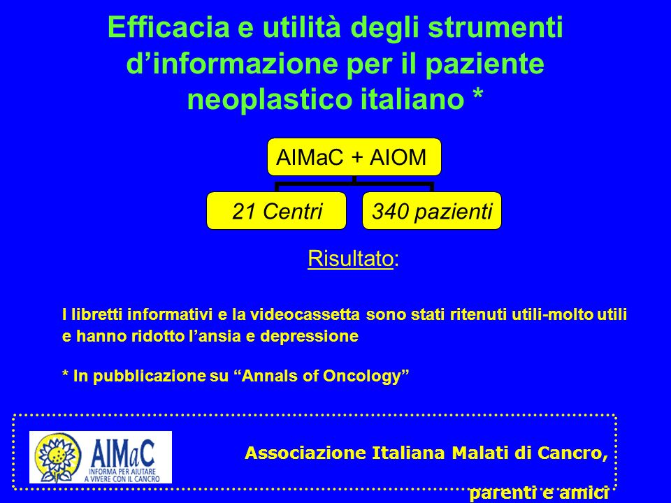 Efficacia e utilità degli strumenti dinformazione per il paziente neoplastico italiano * AIMaC + AIOM 21 Centri 340 pazienti Risultato: I libretti inf