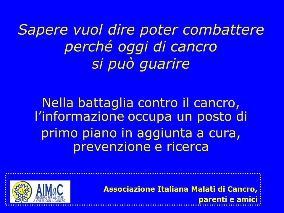 La strategia informativa di AIMaC La Collana del Girasole Il sito www.aimac.it Un servizio di helpline Videocassette La newsletter AMICAIMaC Associazione Italiana Malati di Cancro, parenti e amici