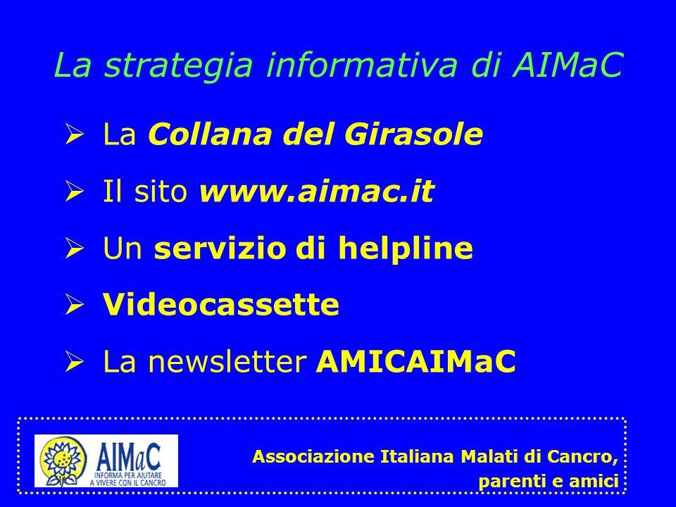 La strategia informativa di AIMaC La Collana del Girasole Il sito www.aimac.it Un servizio di helpline Videocassette La newsletter AMICAIMaC Associazi