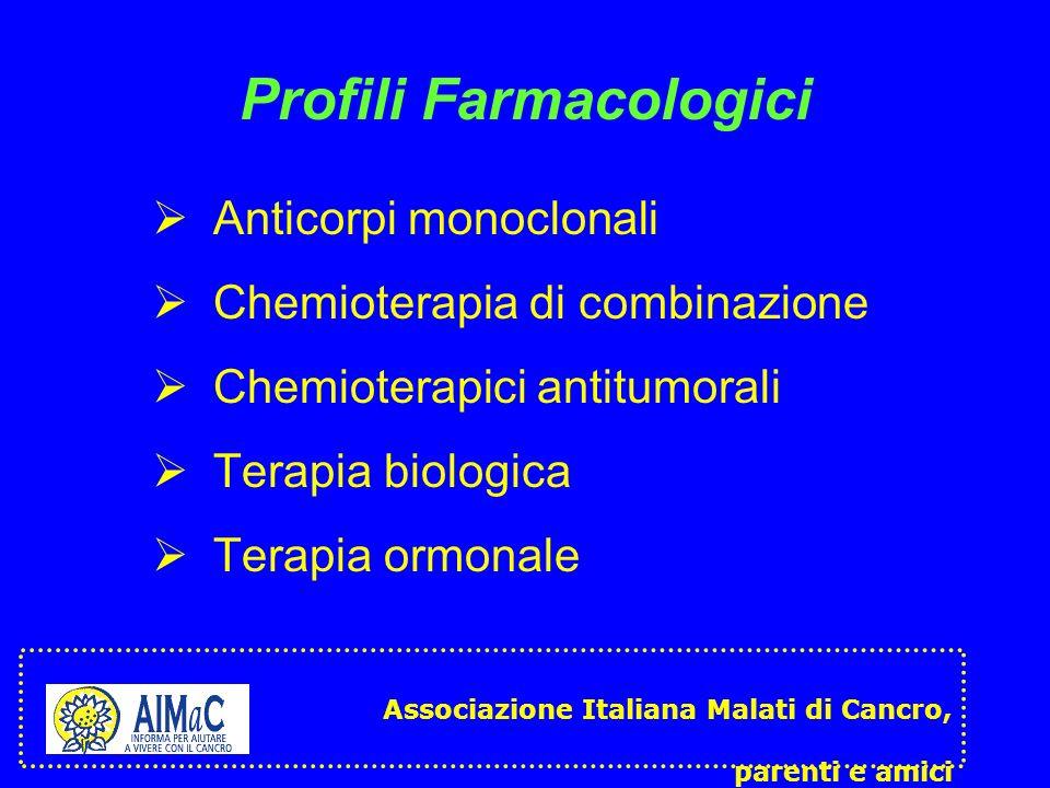 Profili Farmacologici Anticorpi monoclonali Chemioterapia di combinazione Chemioterapici antitumorali Terapia biologica Terapia ormonale Associazione