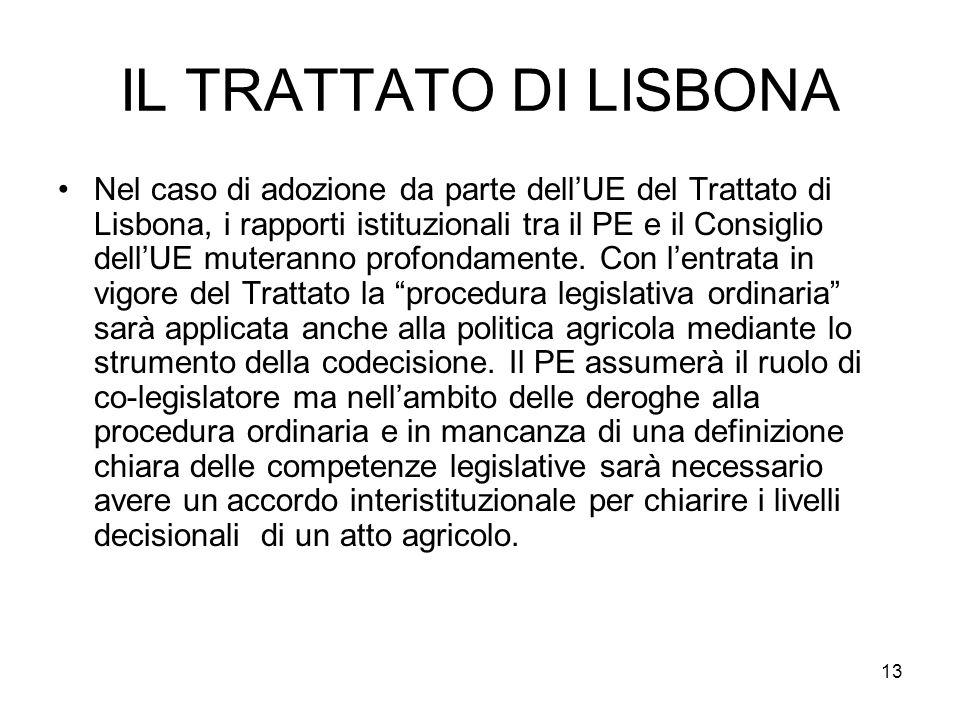 13 IL TRATTATO DI LISBONA Nel caso di adozione da parte dellUE del Trattato di Lisbona, i rapporti istituzionali tra il PE e il Consiglio dellUE muteranno profondamente.